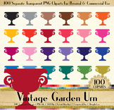 100 European Garden Urn Clip Arts Antique Retro Vintage