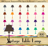 100 European Table Lamp Clip Arts Antique Vintage Decor