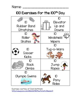 100 Exercises for 100th Day of School
