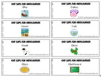 100 Exit Slips for Articulation Skills