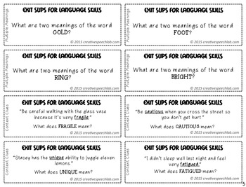 100 Exit Slips for Language Skills