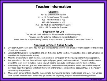 100 Factoring Task Cards for Algebra