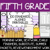 100 Fifth Grade No Prep Language, Reading, Writing, & Math Anytime Printables