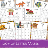 100+ Find the Letter in a Maze Activity Sheets