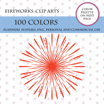 100 Fireworks clip art, New Year's Eve clipart, 4th of July clipart, Kids Party