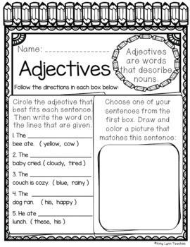 100 First Grade No Prep Language, Reading, Writing, and Math Anytime Printables