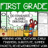 100 First Grade No Prep Language, Reading, Writing, and Math Anytime Printables