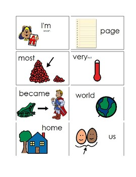 100 First Grade Picture Sight Word Flash Cards