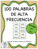 100 First Grade SPANISH High Frequency Word Cards / Palabras de Alta Frecuencia