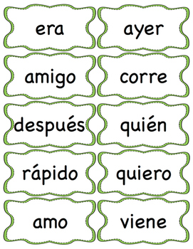 100 First Grade SPANISH High Frequency Word Cards / Palabras de Alta Frecuencia