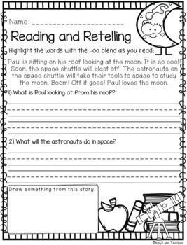 100 First Grade Space Theme No Prep Language, Reading, Writing, & Math Work