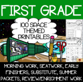 100 First Grade Space Theme No Prep Language, Reading, Writing, & Math Work
