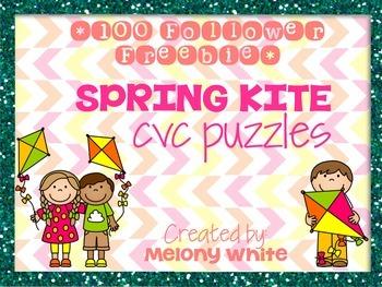 ***100 Follower Freebie*** Spring Kite CVC Puzzles Sampler