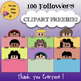 100 Followers FREE Clipart Children with Colorful Banners
