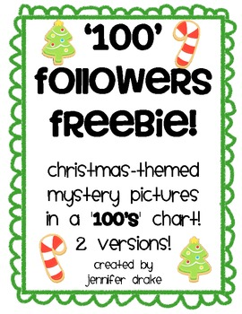 '100 Followers' FREEBIE!  Christmas-themed Mystery Pictures in '100' Chart!