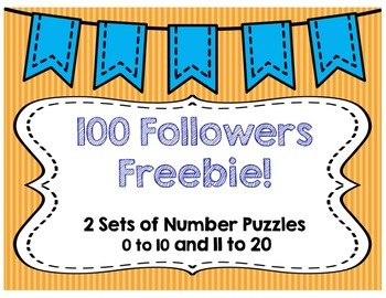 100 Followers Freebie! Number Puzzles 0-20