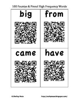 100 Fountas & Pinnell QR High Frequency / Sight Words Self Checking Flash Cards