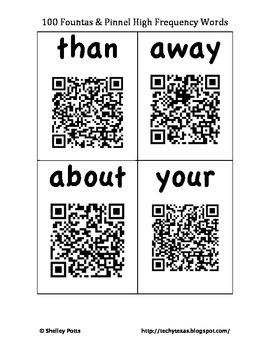100 Fountas & Pinnell QR High Frequency / Sight Words Self