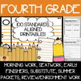 100 Fourth Grade No Prep Language, Reading, Writing, & Math Anytime Printables