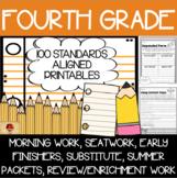 100 Fourth Grade No Prep Language, Reading, Writing, & Math Anytime Printables