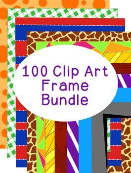 100 Frames Clip Art Bundle PNG JPG Blackline Included Comm