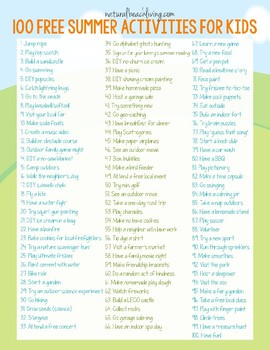 100 Free Summer Activities for Kids