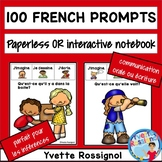 100 French Writing Prompts Paperless or interactif notebook  | Écriture