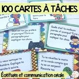 French Writing Task Cards - 100 cartes à tâches - centre d'écriture