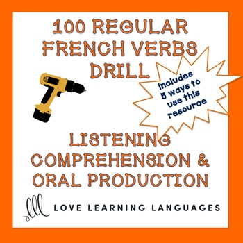 100 French regular verbs present tense drill listening and conjugation practice