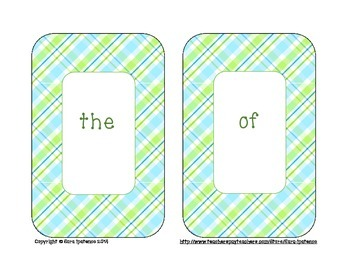 Sight Words Flashcards: Blue and Green Plaid