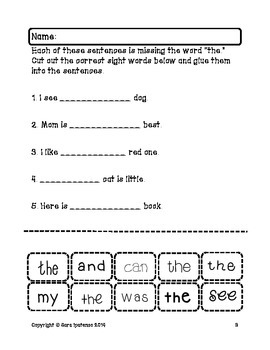 Sight Words Cut and Glue Sentence Packet