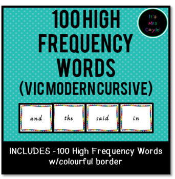 100 High Frequency Words Vic Modern Cursive