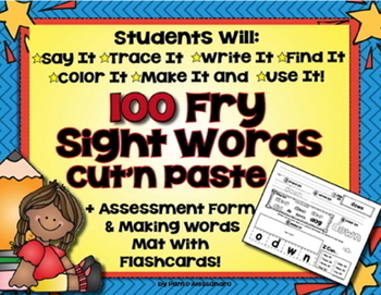 100 Fry Sight Word Cut & Paste Printables - Centers & Acti