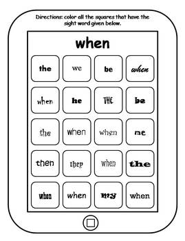 100 Fry Sight Words Printable Tablets