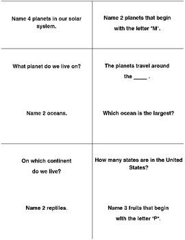 100 GENERAL INFORMATION TRIVIA QUESTION CARDS  Grade 2-3