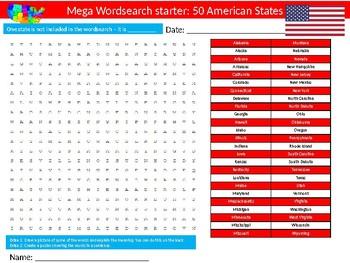 100 Geography Starter Activities Wordsearch Crossword Anagrams Homework