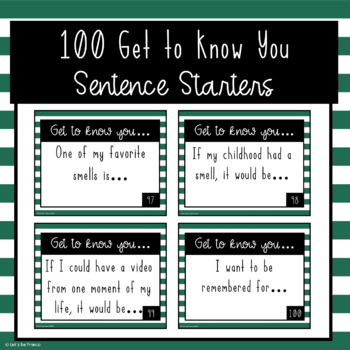 100 Get to Know You Sentence Starters