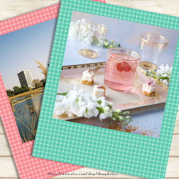 100 Gingham Photo Frames, Picture Frames, Planner Clip arts