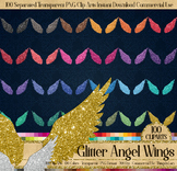100 Glitter Angel Wings Valentine Cupid Christmas Angel PNG
