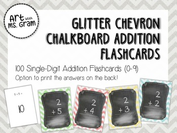 100 Glitter Chevron Chalkboard Single-Digit Addition Flash