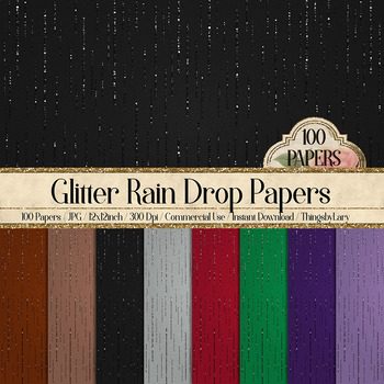 100 Glitter Rain Falling on Canvas Background Digital Papers