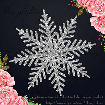 100 Glitter Snowflakes Christmas New Year Party Clip Arts