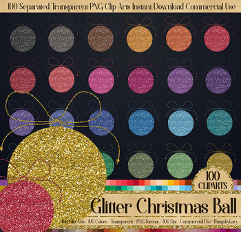 100 glitter winter christmas ball new year party clip arts