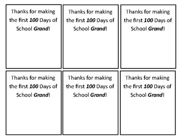 100 Grand Labels 100th Day of School