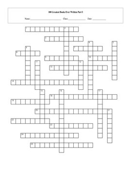 100 Greatest Books Ever Written Part I Crossword with Key