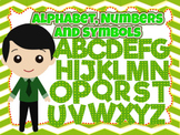 100 Green clip arts of the Alphabet, Numbers and Symbols (