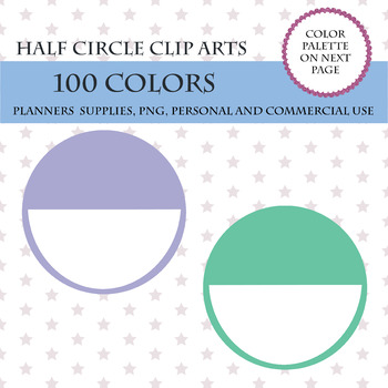 100 Half Circles clipart, Half Round circles with black space for writing