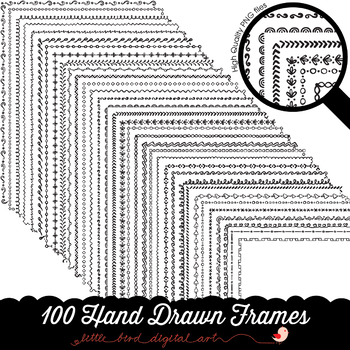 100 Hand Drawn Frame Borders Set 1 - Doodle Frames - 8.5 x 11 Inches - PNG Files