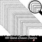 100 Hand Drawn Frame Borders Set 1 - Doodle Frames - 8.5 x