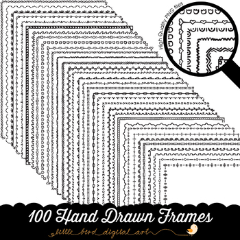 100 Hand Drawn Frame Borders Set 2 - Doodle Frames - 8.5 x 11 Inches - PNG Files